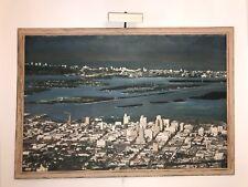 1950s Huge Vintage Aerial Photo of Miami, Biscayne Bay, Isles, Beach