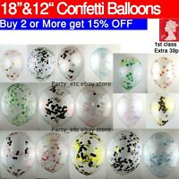 "18"" 12"" 10pcs Confetti Latex Balloons Helium Birthday Wedding Party Large Inch"