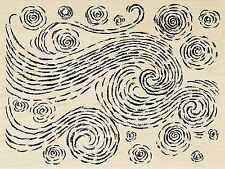 Starry Swirls Background, Wood Mounted Rubber Stamp STAMPENDOUS, New - R284