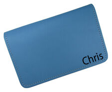 New Personalized Name or Monogram Leather Top Stub Checkbook Cover Baby Blue