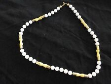 NAPIER NECKLACE - BEAUTIFUL WHITE  AND GOLD BEADS  - 30""