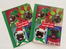 Set Of 2 Pug Dog Christmas Cards Embellished Pugs & Kisses