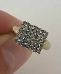 9ct Gold Green Alexandrite Large Cluster Ring