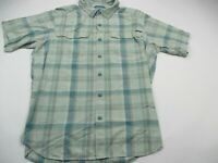 Columbia Mens Button Front Shirt Plaid Short Sleeve Vent Medium Omni Shade Green