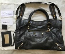 Authentic NWOT Balenciaga City Bag Grey giant gold hardware $1985 Gris Fossil