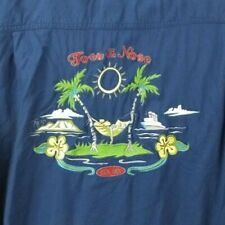 Toes on the Nose Size M Style #TW723 Embroidered Blue Hawaiian Theme Button Up