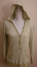 SB Active Women's Top, Size Large, Green and White Striped, Hooded Pullover Top