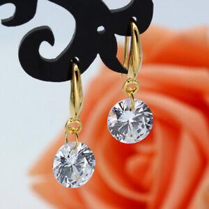 Women Gold Plated Hook Earrings for Wedding White Sapphire Drop Dangle Earrings