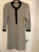 $1895 BALENCIAGA Gray Striped  Wool Button Detail Sweater Dress Size 6 (FR 38)