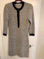 $1895 BALENCIAGA Gray Striped Wool Button Detail Sweater Dress Size 6 (FR 38)