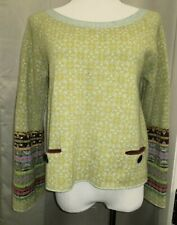 CATHERINE ANDRE GREEN CIRCLE POCKET FRONT PULLOVER SWEATER SZ L