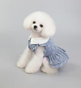Puppy Princess Pet Apparel Blue Cotton Dress Skirt Cat Girl Dog Clothes Summer