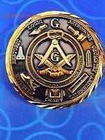"Masonic Commemorative  2"" Challenge Coin Dark Golden 3D Design  Nice Mason Gift"