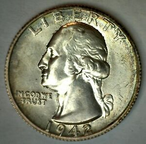 1942 S Silver Washington Quarter Uncirculated US 25c Coin San Francisco Mint