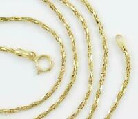 """Solid 14K Yellow Gold Diamond Cut Fancy Rope Chain Necklace 1.5mm  24"""""""