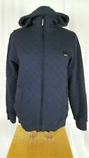 Bench Womens Jacket Quilted Blue Zip Up Hooded Elbow Patches Athletic Small