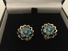 Stunning 9ct Yellow Hallmarked Gold Blue Stone Flower Cluster Earrings Clip On