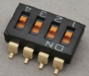 10 X NEW A6S-4101 / A6S4101 Omron, DIP Switches 4 POS Flat Actuator SMT