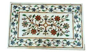 Floral Pattern Inlay Coffee Table Top Rectangle Marble Center table 18 x 36 Inch