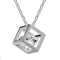 Silver Crystal Diamond Pendant Necklace Unusual Rare Gift for Her Mum Wife Women