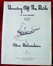 CLIVE RICHARDSON RUNNING OFF THE RAILS PIANO SOLO SHEET MUSIC (1947) ENGLAND