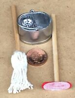 1:12 Scale House Floor Cleaning Mop Squeegee & Metal Bucket Tumdee Dolls House