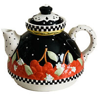 Mary Engelbreit very cherry tea for one teapot black white and red porcelain