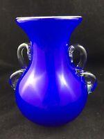 """Vintage Art Glass Urn Trophy 7"""" Vase Cased Cobalt Blue w/ Applied Clear Handles"""