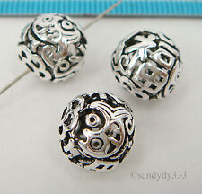 1x BALI STERLING SILVER FLOWER FISH FORTUNE FOCAL ROUND SPACER BEAD 11.5mm #2111