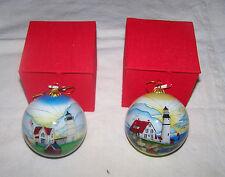 Maine Lighthouse Nubble Light Cape Neddick Portland Head Reverse paint Ornament