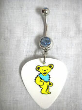 NEW GRATEFUL DEAD DANCING BEAR YELLOW & BABY BLUE PRINTED GUITAR PICK BELLY RING