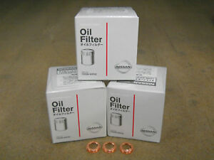 GENUINE NISSAN OIL FILTER 15208-65F0C 3 PACK WITH WASHERS NEW OEM
