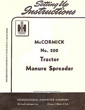 McCormick IH No. 200 (# 200) Manure Spreader Owners Operator Manual Tractor 1954