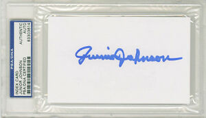 Junior Johnson SIGNED 3x5 Index Card NASCAR HOF Holly Farms PSA/DNA AUTOGRAPHED