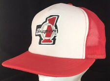 Vtg 80s Mesh Trucker Hat Snapback Patch Cap Snap On Tools #1 Race Logo Red White