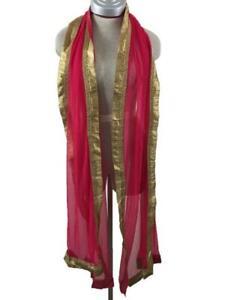 pink gold trim scarf shawl 94 x 26 costume Cleopatra princess
