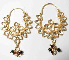22k 24k Goldplated Chand Bali Ethnic Bollywood Kundan Jhumka Indian Earrings Set