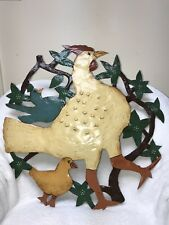 """Hen&Chick Hand Painted American Folk Art Metal Sign Signed """"MIMI"""" Large Size"""