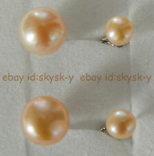 Fashion Charming Double Akoya Pink Pearl Large 10-10.5mm Silver Stud Earrings
