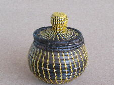 Wounaan Tribe Handwoven Basket w/ Lid - Browns and Yellow Rope Style Weave E.585