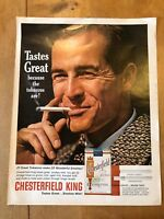 "VINTAGE 1963 CHESTERFIELD KING CIGARETTES USA COLOUR ADVERT (13"" x 10.25"")"