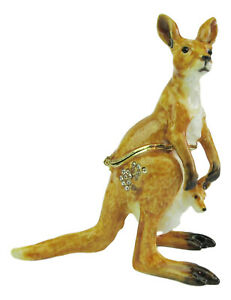 Australian Kangaroo with Joey Jewelled Enamelled Trinket Box Figurine