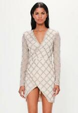 MISGUIDED peace + love silver lattice embellished wrap mini dress UK 8