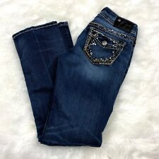 Silver 26 Womens Embellished Flap Pocket Suki Mid Slim Bootcut Denim Jeans