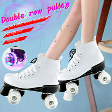 Double Row Pulley With Flashing Wheel High Top Boot Roller Skate Indoor Outdoor