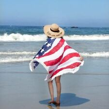 American Flag Round Beach Towel or Throw Fringed New Red White Blue