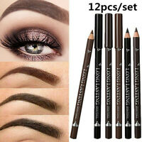 12X Waterproof Eye Brow Pencil Black Brown Eyebrow Pen Long Lasting Makeup Set
