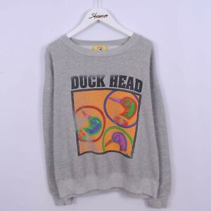 Vintage 90s Duck Head Graphic Print Spell Out Sweatshirt Grey Sweater Size L