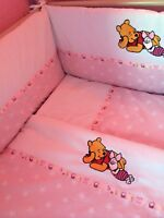 Beautiful bespoke crib cot cotbed bumper set with winnie the pooh pink/white