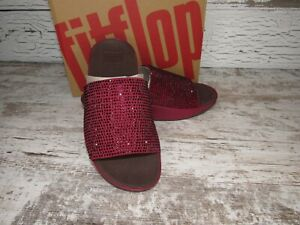 New ~ Women's Fitflop Ginny Glitz Pool Berry Slide Sandals Size 7 / 38 ~ N64-620